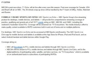 NBC Schedule F1 All 2014 details