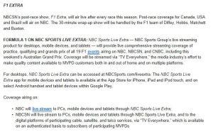NBC Schedule F1 All 2014 details