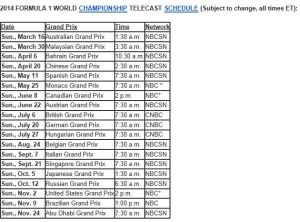 NBC Schedule F1 All 2014
