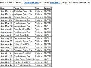 NBC Schedule F1 All 2014